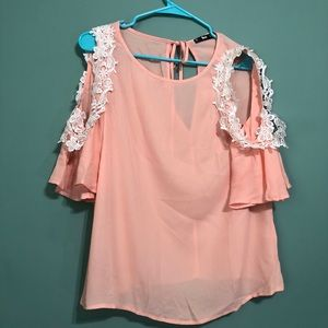 cold shoulder coral blouse!